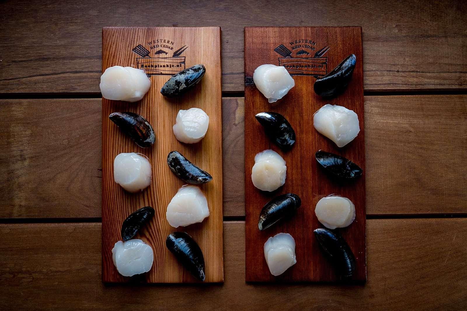 Recept | Mosselen en Coquilles van ceder rookplank | Rookplankje.nl