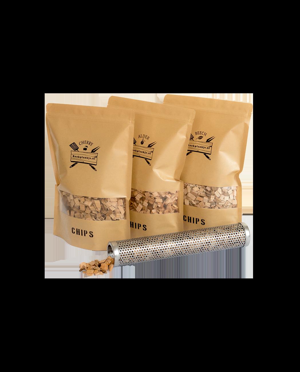 Chips Assortiment met Tube Smoker   Cherry Alder Beech   Rookplankje.nl