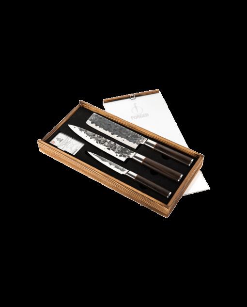 Productafbeelding | Sebra Forged 3-delige messenset in houten kistje