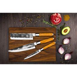 Sfeerafbeelding Olive Forged 3-delige messenset