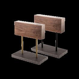Productafbeelding | Style de Vie magnetisch messenblok walnoot | poten zwart en goud